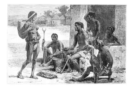 southern africa: Men, Women and Tools of the Luchazes, in Angola, Southern Africa, drawing by Maillart based on the English edition, vintage illustration. Le Tour du Maonde, Travel Journal, 1881