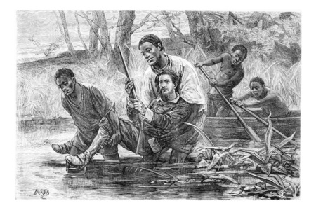 pinto: Aogousto and Son Carrying the Major Over the Marsh, in Angola, Southern Africa, drawing by Maillart based writings, vintage illustration. Le Tour du Monde, Travel Journal, 1881 Stock Photo