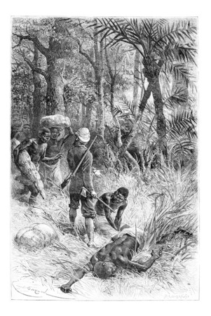 africa antique: Ambouelan Hunter and His Wife and Children, in Angola, Southern Africa, drawing by Maillart based on the English edition, vintage illustration. Le Tour du Monde, Travel Journal, 1881 Stock Photo
