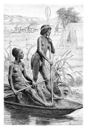 africa antique: Opoudo and Capeo on a canoe, in Angola, Southern Africa, drawing by maillart based on the English edition, vintage illustration. Le Tour du Monde, Travel Journal, 1881