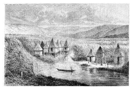 Village cabou-heo-oue, en Angola, en Afrique australe, dessin de De Bar basée sur l'édition anglaise, illustration vintage. Le Tour du Monde, Voyage Journal 1881