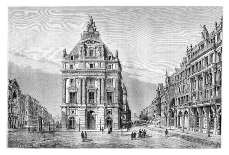 levy: Northern and Anspach Boulevards and the Place de Brouckere in Brussels, Belgium, drawing by Catenacci based on a photograph by Levy, vintage illustration. Le Tour du Monde, Travel Journal, 1881