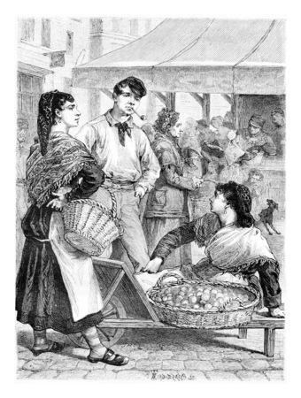 Les gens le long de la rue Haute à Bruxelles, en Belgique, dessin par Sirouy après Verdyen, illustration vintage. Le Tour du Monde, Voyage Journal 1881