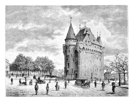 Porte de Hal in Brussels, Belgium, drawing by Taelemans, vintage illustration. Le Tour du Monde, Travel Journal, 1881 Stock fotó