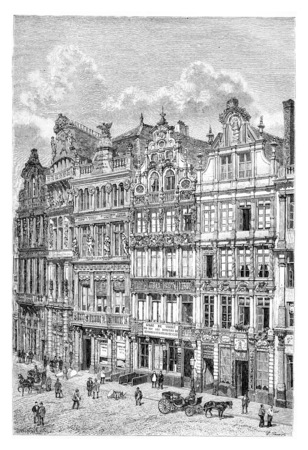 old photograph: Old Houses in Brussels, Belgium, drawing by Benoist based on a photograph, vintage illustration. Le Tour du Monde, Travel Journal, 1881 Stock Photo