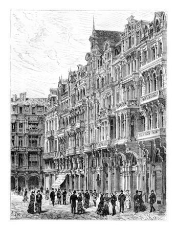Construction moderne, un primé Maison à Bruxelles, en Belgique, en tirant par Deroy basée sur une photographie de Levy, illustration vintage. Le Tour du Monde, Voyage Journal 1881