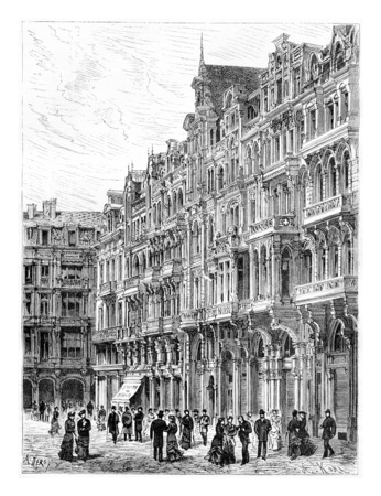 levy: Modern Construction, an Award-Winning House in Brussels, Belgium, drawing by Deroy based on a photograph by Levy, vintage illustration. Le Tour du Monde, Travel Journal, 1881