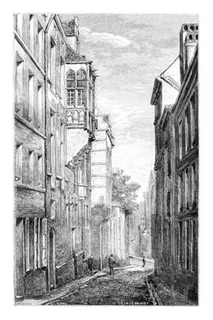 cobblestone street: Terarken Street in Brussels, Belgium, drawing by Chauvet, vintage illustration. Le Tour du Monde, Travel Journal, 1881