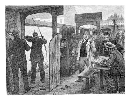 Tir à l'arc, à Bruxelles, en Belgique, dessin de Mellery, illustration vintage. Le Tour du Monde, Voyage Journal 1881 Banque d'images