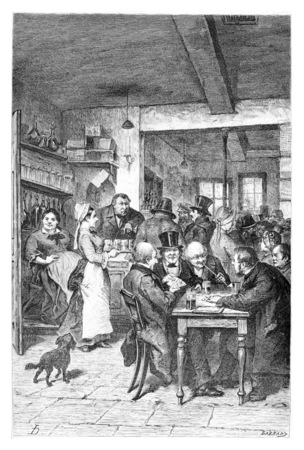 tavern: The Tavern in Brussels, Belgium, drawing by Hoese, vintage illustration. Le Tour du Monde, Travel Journal, 1881 Stock Photo