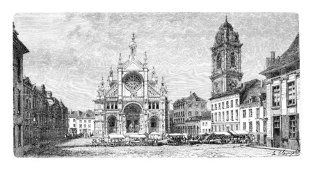 place of worship: Church of Saint Catherine in Antwerp, Belgium, drawing by Clerget based on a photograph by Levy, vintage illustration. Le Tour du Monde, Travel Journal, 1881