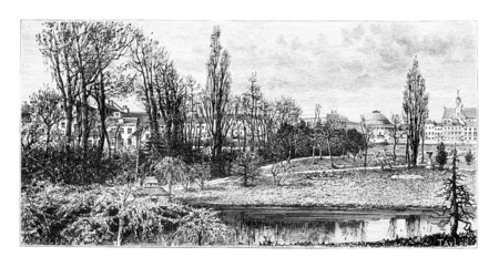 taxonomy: Botanical Garden of Brussels in Brussels, Belgium, drawing by Taylor based on a photograph, vintage illustration. Le Tour du Monde, Travel Journal, 1881 Stock Photo