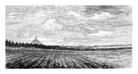 Champ à Waterloo, Belgique, dessin de Taelemans, illustration vintage. Le Tour du Monde, Voyage Journal 1881 Banque d'images