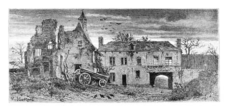 Hougomont Ferme à Waterloo, Belgique, dessin de Vuillier d'après une photographie, illustration vintage. Le Tour du Monde, Voyage Journal, 1881
