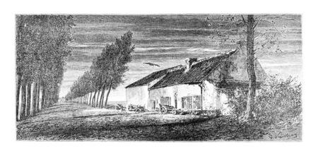 Belle-Alliance, dans le sud de Bruxelles, en Belgique, en tirant par Vuillier d'après une photographie, illustration vintage. Le Tour du Monde, Voyage Journal 1881
