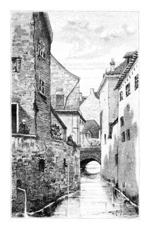 Les Thines à Nivelles, en Belgique, dessin de Hannon, illustration vintage. Le Tour du Monde, Voyage Journal 1881 Banque d'images