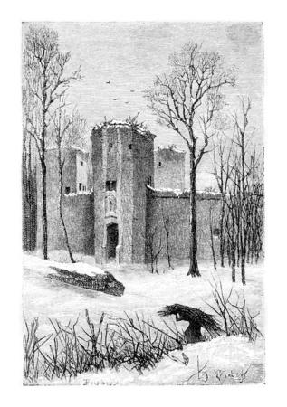 Château de Beersel Ruins à Beersel, Belgique, dessin de Verdyen, illustration vintage. Le Tour du Monde, Voyage Journal 1881