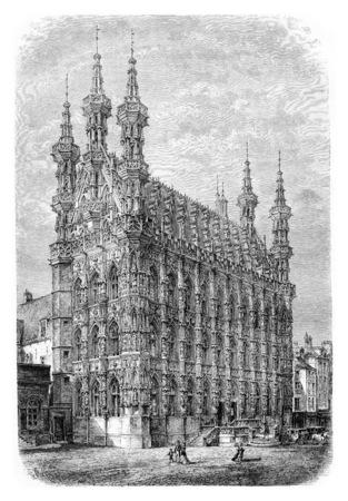 Louvain Town Hall à Louvain, en Belgique, en tirant par Barclay basée sur une photographie, illustration vintage. Le Tour du Monde, Voyage Journal 1881