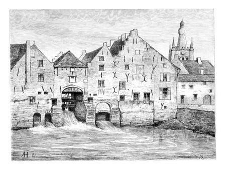 Hertogensmolens à Aarschot, à Louvain, en Belgique, dessin par Hubert, illustration vintage. Le Tour du Monde, Voyage Journal 1881