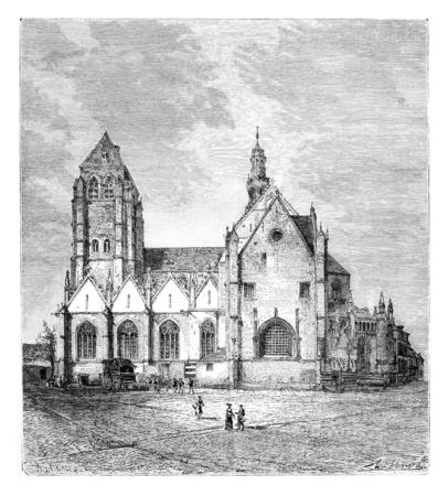 Eglise de Saint-Léonard, Léau, en Belgique, en tirant par Clerget basée sur une photographie, illustration vintage. Le Tour du Monde, Voyage Journal 1881