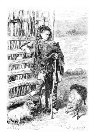 herder: Mingrelian Peasant from Svaneti, Georgia, drawing by Sirouy based on a photograph by Ermakoft, vintage illustration. Le Tour du Monde, Travel Journal, 1881