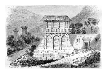Dadiani Mansion in Svaneti, Georgia, drawing by Sellier based on a sketch by Bernoville, vintage illustration. Le Tour du Monde, Travel Journal, 1881 版權商用圖片