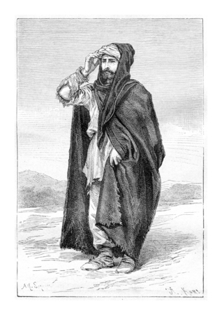 Peasant Mine Aristocrat from Svaneti, Georgia, drawing by Sirouy based on a photograph by Ermakoft, vintage illustration. Le Tour du Monde, Travel Journal, 1881