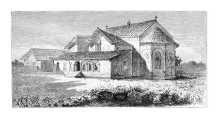 caucasus: Svetitskhoveli Cathedral in Mtskheta, Georgia, drawing by Sellier based on a sketch by Montpeyreux, vintage illustration. Le Tour du Monde, Travel Journal, 1881