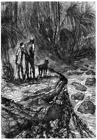 companion: Bushman and his companion watched, vintage engraved illustration. Jules Verne 3 Russian and 3 English, 1872.
