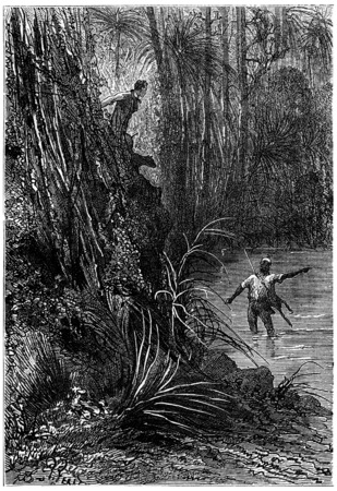 companion: Bushman and his companion, vintage engraved illustration. Jules Verne 3 Russian and 3 English, 1872.