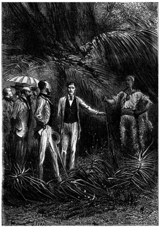 companion: The bushman hunter, presenting his companion, vintage engraved illustration. Jules Verne 3 Russian and 3 English, 1872 Stock Photo