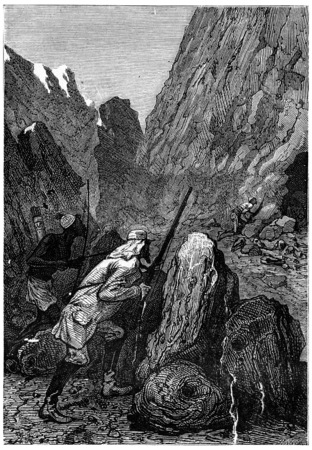 hunter gatherer: He reaches the entrance of the den, vintage engraved illustration. Jules Verne 3 Russian and 3 English, 1872.