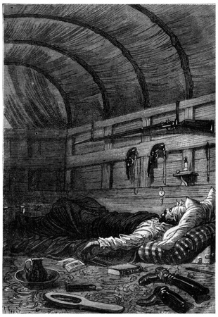 fell: He soon fell asleep, vintage engraved illustration. Jules Verne 3 Russian and 3 English, 1872.