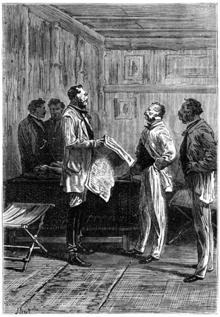 before: Before communicating, vintage engraved illustration. Jules Verne 3 Russian and 3 English, 1872.