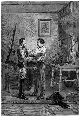 emery: Emery shaking hands, vintage engraved illustration. Jules Verne 3 Russian and 3 English, 1872. Stock Photo