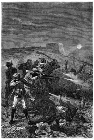 rushed: Rushed amid the groups, vintage engraved illustration. Jules Verne 3 Russian and 3 English, 1872. Stock Photo