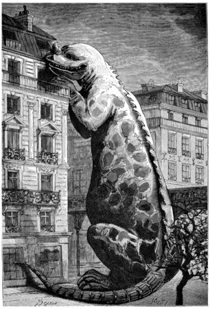 multi storey: Pressing their paws on one of our highest houses, they could eat at a fifth floor balcony, vintage engraved illustration. Earth before man – 1886.