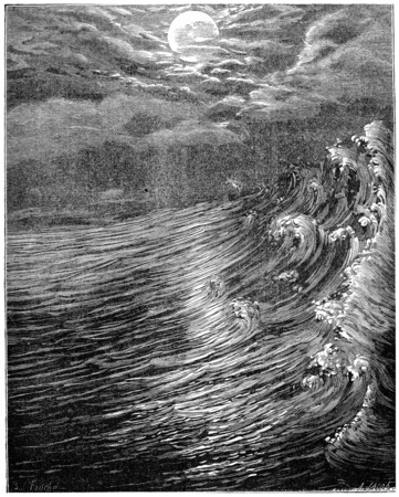 clouds: Originally. Moon is closest to the Earth still fluid produced great tides, vintage engraved illustration. Earth before man – 1886. Stock Photo