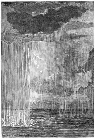 De vorming van de atmosfeer. Eerste condenswater, vintage gegraveerde illustratie. Aarde voordat de mens - 1886. Stockfoto