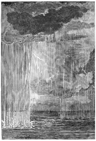 atmosphere: The formation of the atmosphere. First condensation water, vintage engraved illustration. Earth before man – 1886.