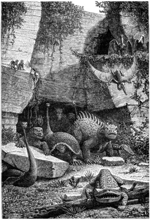 seem: All these beings who have rights above and out of their graves today they seem not monsters, vintage engraved illustration. Earth before man – 1886. Stock Photo