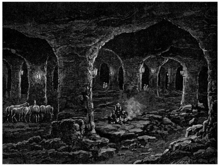 mines: The Triassic formation, Wieliczka salt mines in Poland, vintage engraved illustration. Earth before man – 1886.