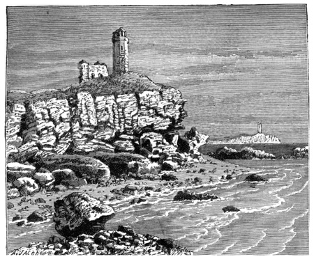 Invasions from the sea shore by the waves eating away at Gallipoli, vintage engraved illustration. Earth before man – 1886.