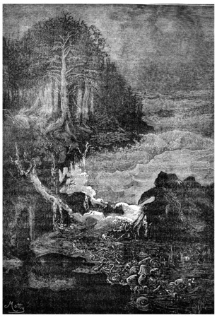 triassic: Scene of the Triassic era (period conchylienne), Chirotherium and nothosaur, vintage engraved illustration. Earth before man – 1886. Stock Photo