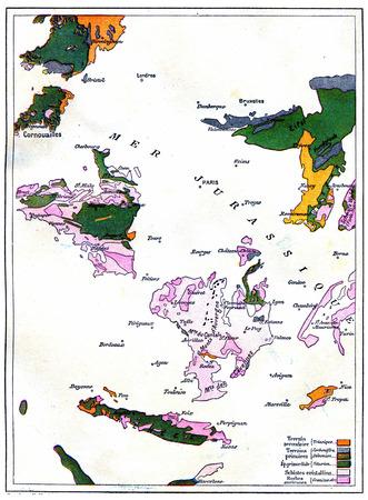 gradual: Mapa de la formaci�n gradual de la tierra, ilustraci�n de la vendimia grabado. Tierra antes que el hombre - 1886. Foto de archivo
