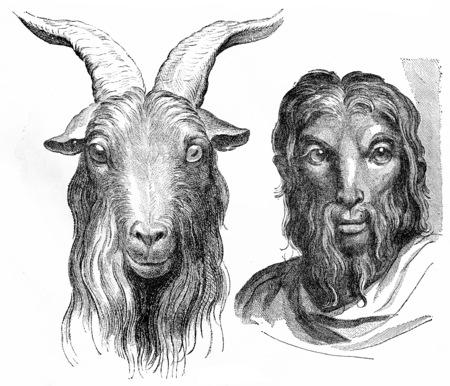 cabras: Cabra, ilustración de la vendimia grabado. Tierra antes que el hombre - 1886. Foto de archivo
