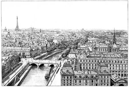 seine: Panorama of the Seine near Notre Dame. Stock Photo