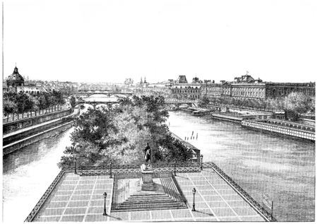 The platform of the Pont-Neuf and the statue of Henri IV, vintage engraved illustration. Paris - Auguste VITU – 1890.