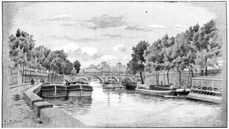 seine: The Pont-Neuf and the Louvre seen from the Quai des Augustins, vintage engraved illustration. Paris - Auguste VITU – 1890. Stock Photo