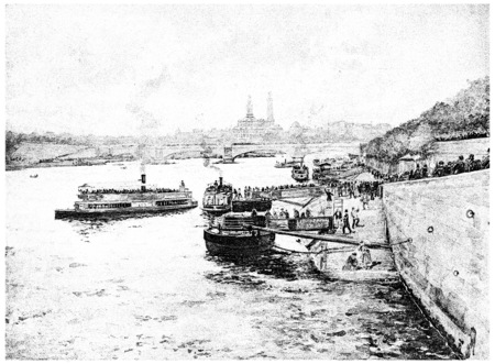 seine: The Seine and the Trocadero Palace seen from the bridge of harmony, vintage engraved illustration. Paris - Auguste VITU – 1890. Stock Photo